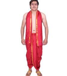 Catlon silk maroon  fabric free size men's art dhoti and angavastram set