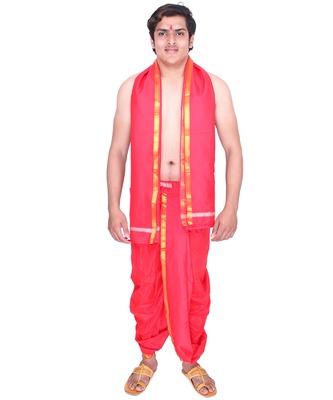 Catlon Silk Red  Fabric Free Size Men'S Art Dhoti And Angavastram Set