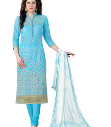 Buy sky blue embroidered pure cotton unstitched salwar with dupatta dress-material online