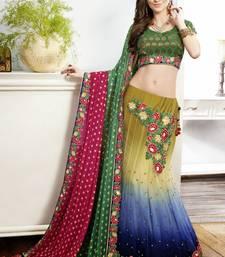 Buy Green embroidered net unstitched lehenga multicolor-lehenga online