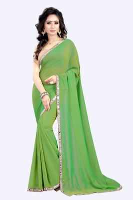 Parrot green plain faux georgette saree with blouse