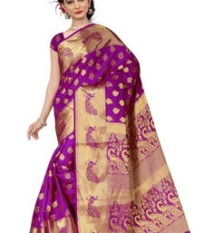 Buy Dark purple woven banarasi silk saree with blouse banarasi-saree online