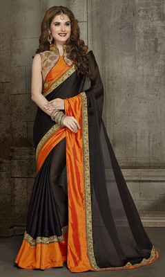 Black embroidered chiffon saree with blouse
