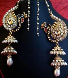 Buy Peacock motif Kashmiri jhumka ADIVA earring India women bridal jewelry v550 women-ethnic-wear online