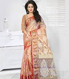 Buy Peach woven tissue saree with blouse tissue-saree online