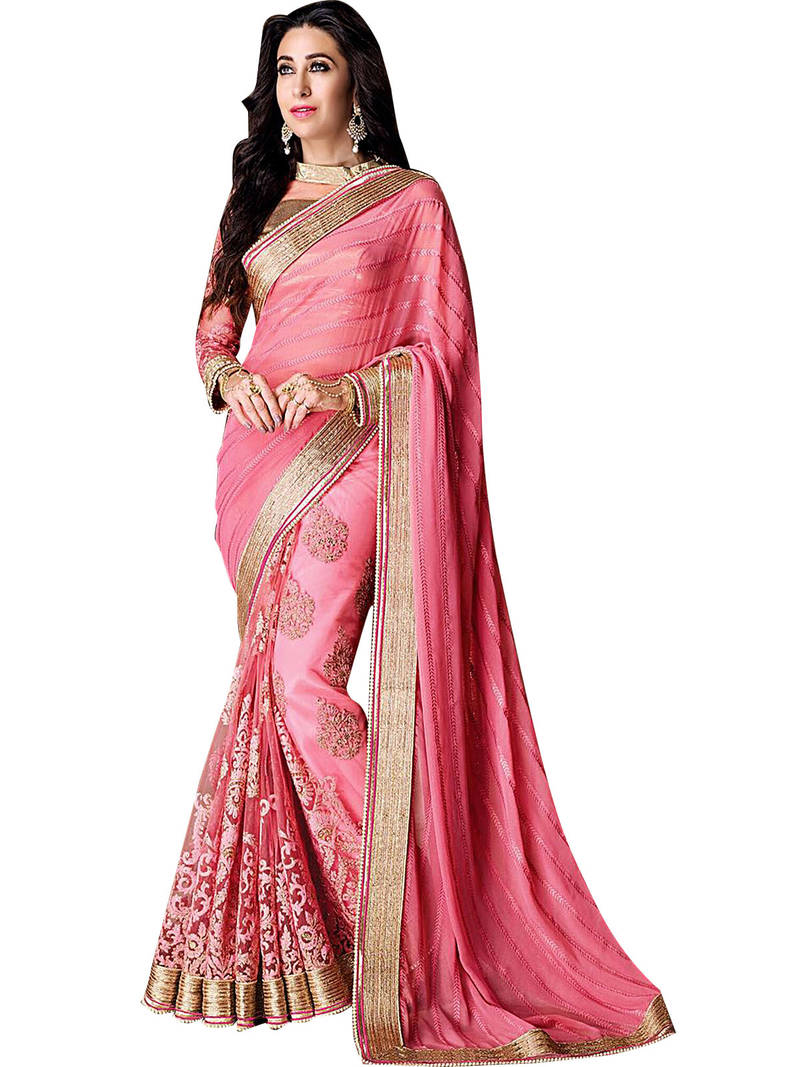 Buy Baby Pink Embroidered Georgette Saree With Blouse Online