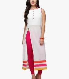 Buy White plain cotton party-wear-kurtis party-wear-kurti online