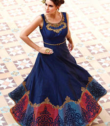 Buy Navy blue printed faux satin semi stitched party wear gown party-wear-gown online