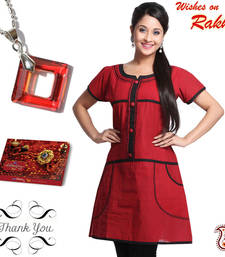 Buy Red Diamond Ring Crystal Pendant and Kurti Sister Hamper gifts-for-sister online