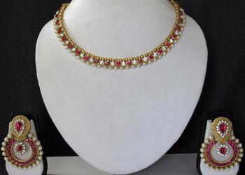 Pink stone necklace sets