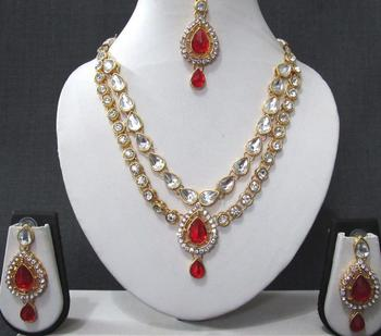 Red stone necklace sets