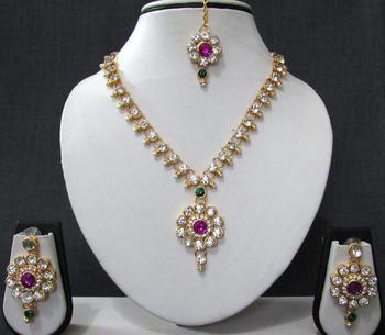 Purple stone necklace sets