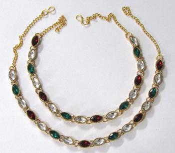 Maroon stone anklets