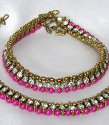 Pink pearl anklets