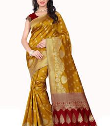 Buy Yellow printed banarasi saree with blouse banarasi-saree online