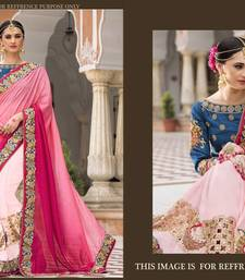 Buy Pink embroidered georgette saree with blouse tussar-silk-saree online