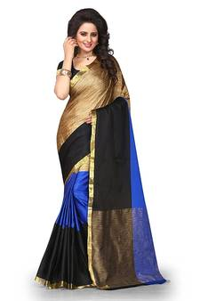 blue printed cotton saree with blouse c9f415cec