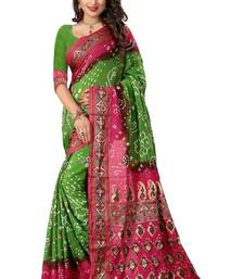 Light green printed bhagalpuri silk saree with blouse