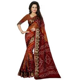 Brown printed bhagalpuri silk saree with blouse