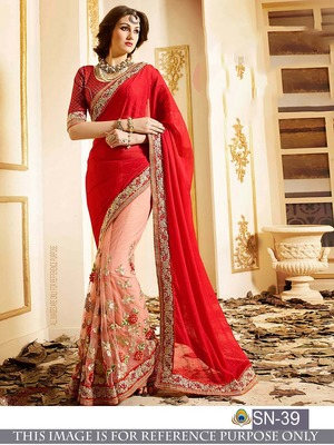 7eaa70e113f7c9 Red embroidered georgette saree with blouse - Shree Sai Trading - 1860795