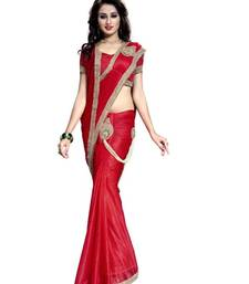 Buy Red embroidered crepe saree with blouse crepe-saree online