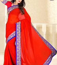 Buy Red color faux chiffon saree with blouse chiffon-saree online