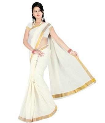 Off White Plain Cotton Saree With Blouse
