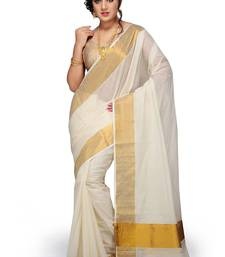 Buy Off white plain cotton saree with blouse women-ethnic-wear online