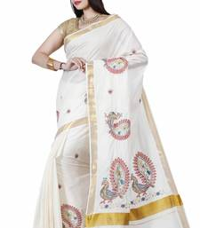 Buy Off white embroidered cotton saree with blouse women-ethnic-wear online