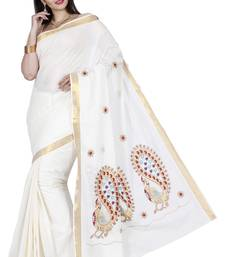 Buy Off white embroidered cotton saree with blouse kerala-saree online