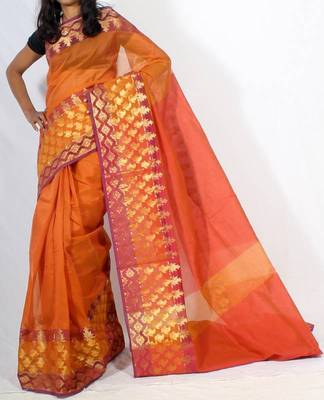 Supernet Cotton Banarasi Zari Border Saree
