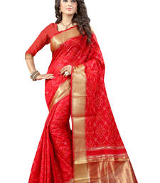 Buy Red printed patola saree with blouse patola-sari online