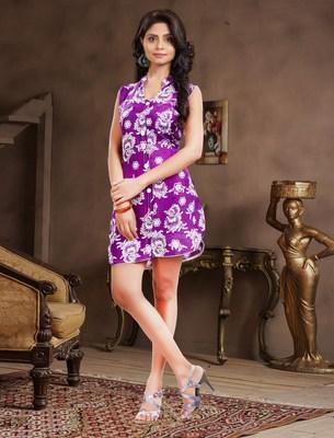 Purple printed rayon kurtis