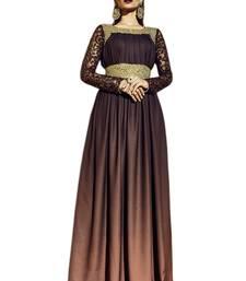 Dark brown embroidered art silk semi stitched salwar with dupatta