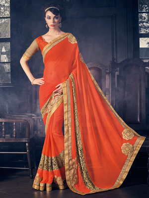 Orange patch work and  fancy border work georgette saree with blouse