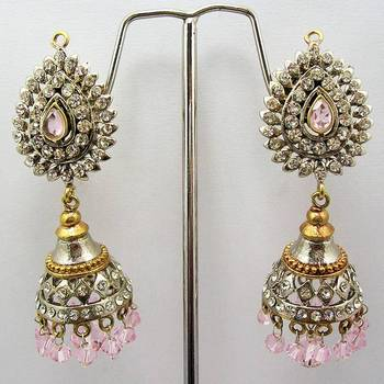Victorian Jhumki (Silver Pink)