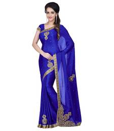 Buy blue embroidered satin chiffon saree with blouse (Best quality) chiffon-saree online