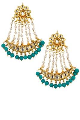 Turquoise Beaded Pearl Chandbaali