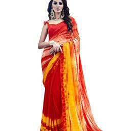 Buy Orange printed georgette saree tie-dye-saree online