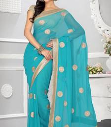 Buy Stylish Light Teal Blue Color Faux Chiffon Party Wear Saree with Blouse chiffon-saree online