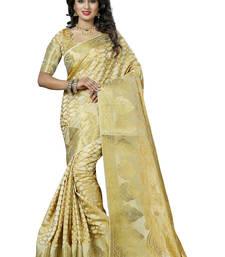 Buy Beige woven silk saree  silk-saree online