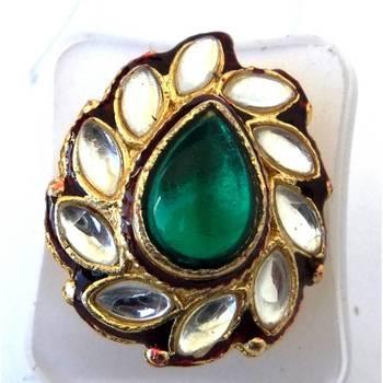 Kundan Ring: Green