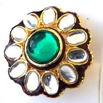 Circular Kundan Ring: Green