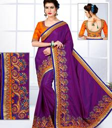 Buy Purple embroidered silk saree with blouse silk-saree online