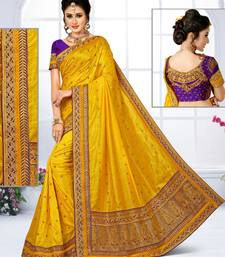 Buy Mustard embroidered silk blend saree with blouse silk-saree online