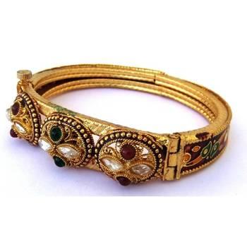 Golden Kada with Meenkari Work
