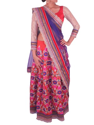 Red art silk Lehenga with heavy embroidery
