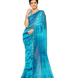 Buy   turquoise printed georgette saree with blouse women-ethnic-wear online
