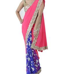 Buy Fuschia pink Crepe Saree with Navy blue pleats and white floral embroidery  | Sweta Sutariya net-saree online