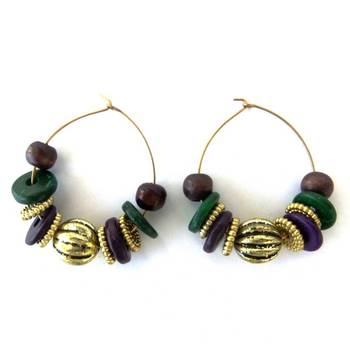 Bead Loop Earrings- Green